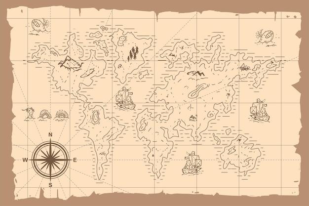 Vintage world map cartoon hand drawn illustration