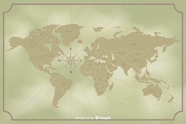 ヴィンテージの世界地図デザインコンセプト