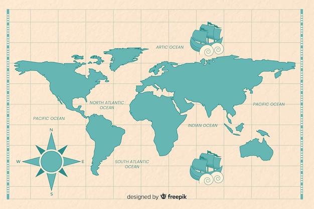 Старинная карта мира синим цветом