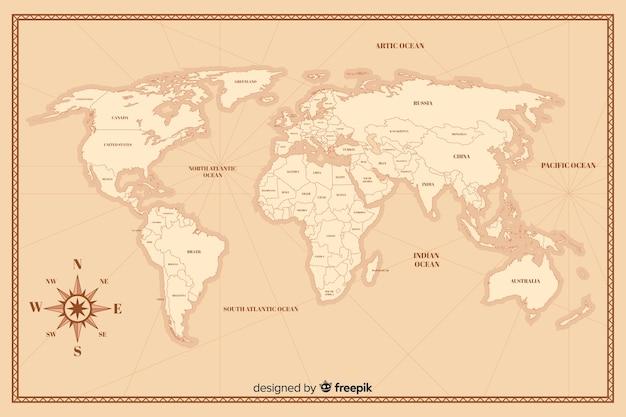 Винтажная карта мира в деталях