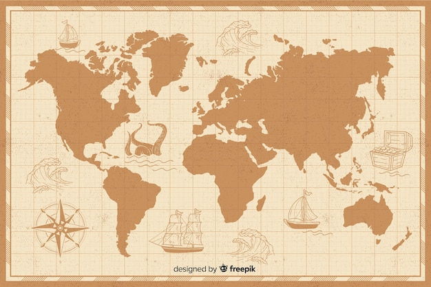 Vintage world map with borders