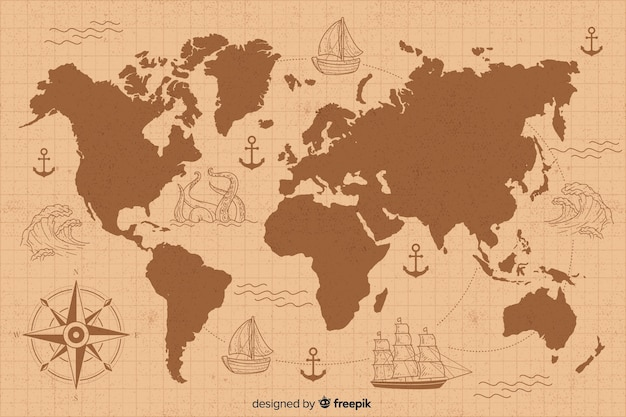 Vintage world map with drawing