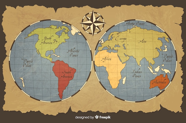 Vintage world map with planet