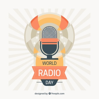 Vintage world radio day background with microphone