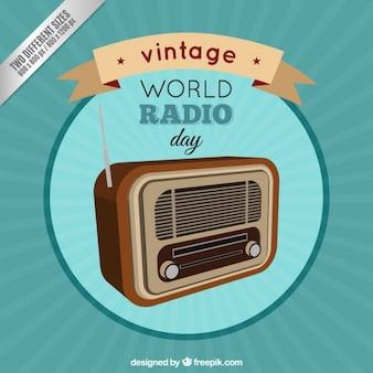 Vintage world radio day background