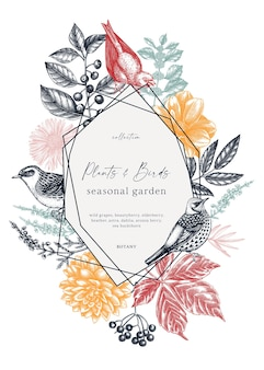 Винтажный венок с нарисованными от руки иллюстрациями птиц и осенними листьями, ягодами, цветами