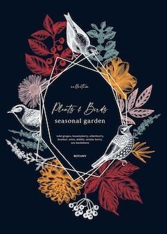 手でスケッチされた鳥のイラストと紅葉ベリーの花とヴィンテージの花輪のデザイン