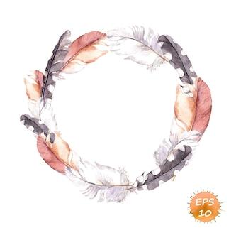 自由奔放に生きるスタイルのヴィンテージの花輪の羽の境界線。