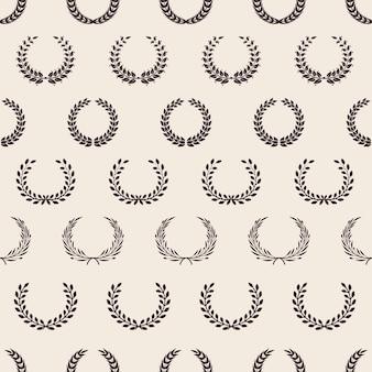 Vintage wreath pattern. greek laurel, awards seamless texture. olive branches background.