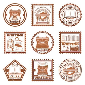 Vintage writing stamps set with typing retro globe telephone typewriter books magnifier coffee camera eyeglasses oil lamp isolated