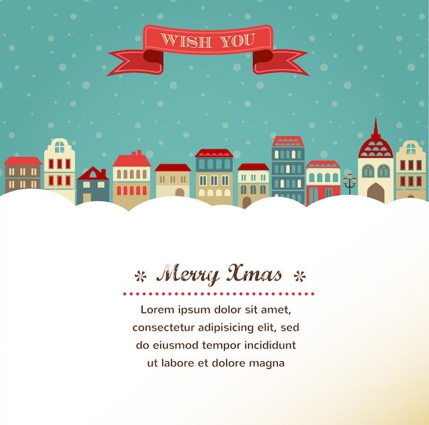 冬の町の背景を持つヴィンテージクリスマスグリーティングカード