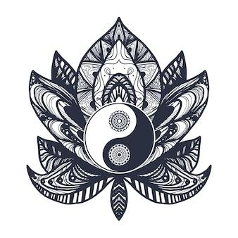 マンダラロータスのヴィンテージ陰陽。プリント、タトゥー、塗り絵、生地、tシャツ、ヨガ、ヘナ、自由奔放に生きるスタイルの布のタオシンボル。一時的な刺青、オカルトと部族、秘教と錬金術の兆候。ベクター