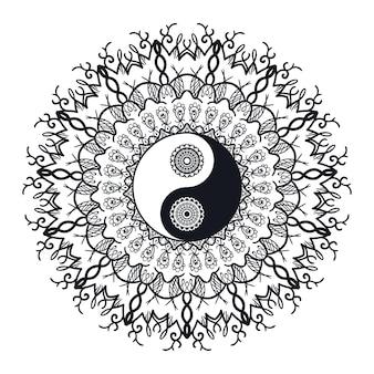 曼荼羅のヴィンテージ陰陽。プリント、タトゥー、塗り絵、生地、tシャツ、ヨガ、ヘナ、自由奔放に生きるスタイルの布のタオシンボル。一時的な刺青、オカルトと部族、秘教と錬金術の兆候。ベクター