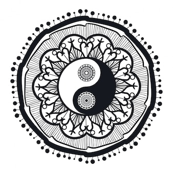 Vintage yin and yang in mandala