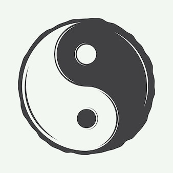 Vintage yin yang symbol in retro style can be used to martial arts logo emblems badges