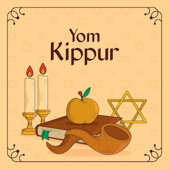 Vintage yom kippur background with horn and apple