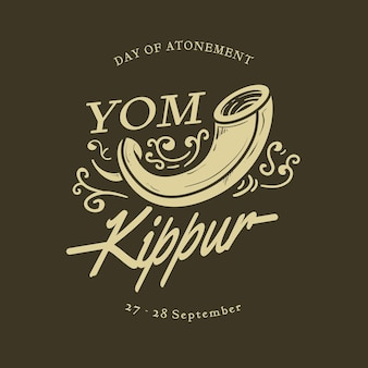Vintage yom kippur background with horn Free Vector