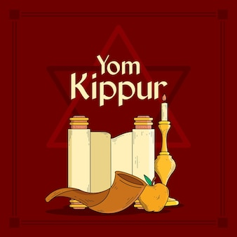 Vintage yom kippur background with horn