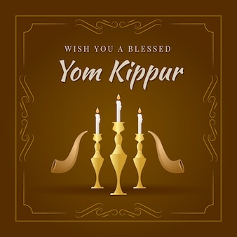 Vintage yom kippur with candles