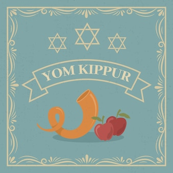 Vintage yom kippur with horn and apples