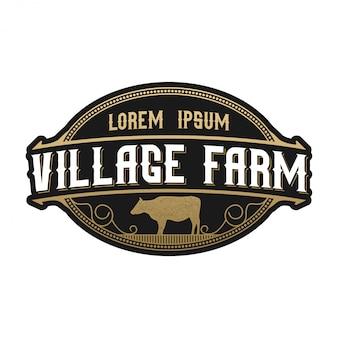 家畜のvintageロゴ。牛アンガス農場