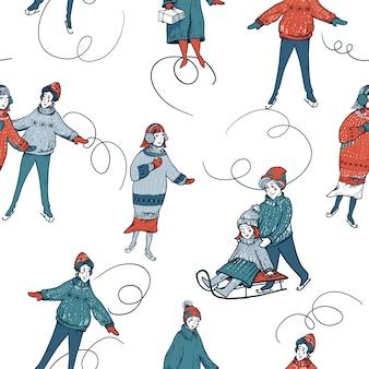 Vintage бесшовные модели зимних людей на санках