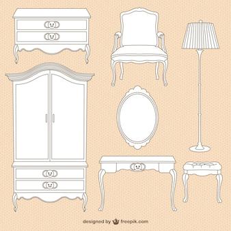 Vintage иллюстрации мебель