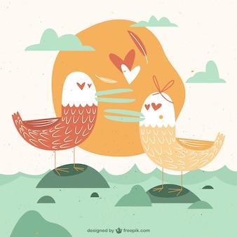 Vintage чайки в любви