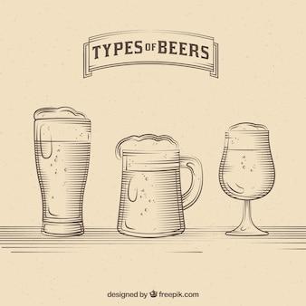 Vintage набор различных стекол с пивом