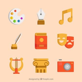 Векторный набор vintage символы искусства