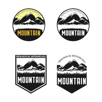 Vintagemountain旅行バッジのセット。キャンプラベルの概念。山遠征のロゴデザイン。ハイキングエンブレム