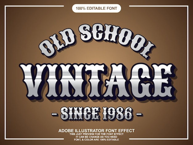 Vintagle chrome editable typography font effect