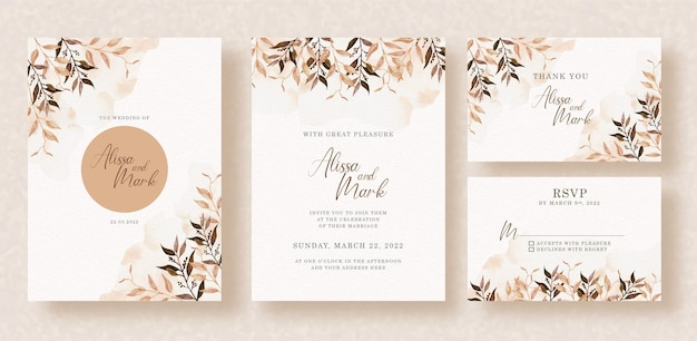 Vintange of wedding invitation with watercolor florals and splash
