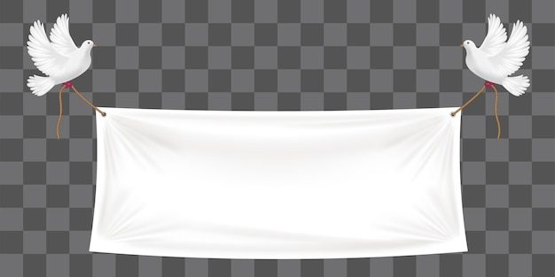Vinyl banners backdrop with white pigeon and ropes