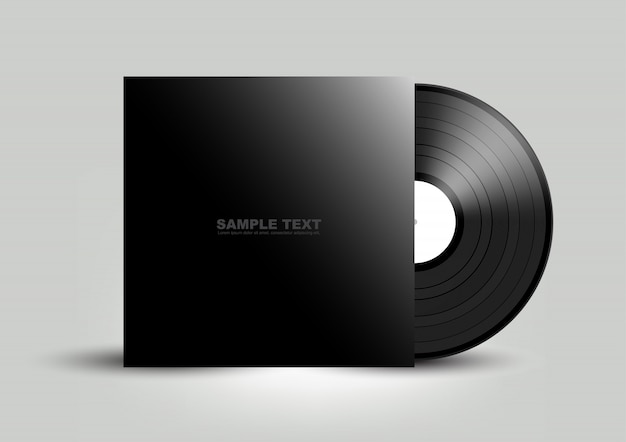 Vinyl cover on white wall background,  illustration