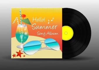 Vinyl disc record summer song album vector