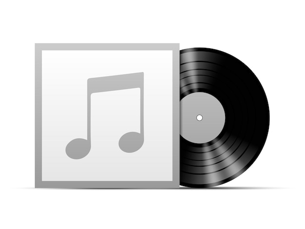 Vinyl disc with black cover template mockup