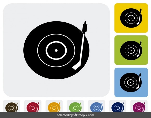 Vinyl disk icons collection
