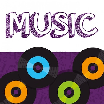 Vinyl disks musical poster