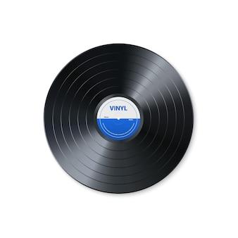 ビニール音楽レコード。レトロなオーディオディスクのデザイン。カバーモックアップ付きのリアルなビンテージ蓄音機ディスク。ベクトルイラスト。