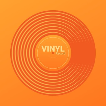 ビニール音楽レコード。レトロなオーディオディスクのデザイン。カバーモックアップ付きヴィンテージ蓄音機ディスク。ベクトルイラスト。