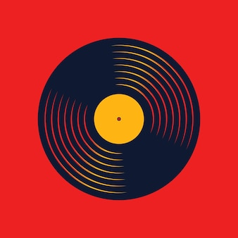 Vinyl music record. design of retro audio disk. vintage gramophone disc with cover mockup. vector illustration.