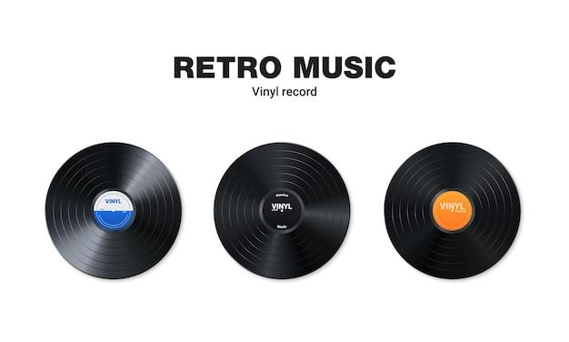 Набор виниловых музыкальных пластинок. дизайн ретро аудио диска. реалистичный старинный граммофонный диск с крышкой.