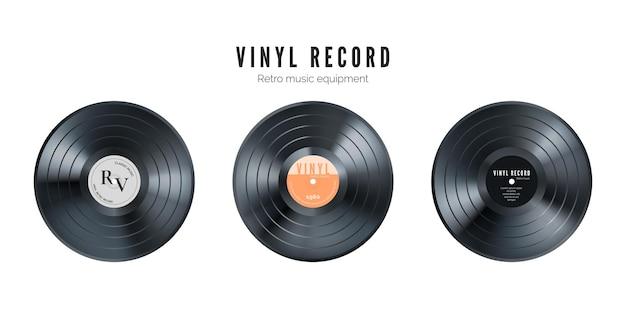 비닐 음악 레코드 세트. 레트로 오디오 디스크. 커버와 함께 현실적인 빈티지 축음기 디스크입니다. 삽화