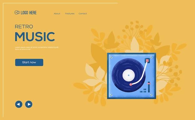 Флаер концепции винилового плеера, веб-баннер, заголовок пользовательского интерфейса, введите сайт.