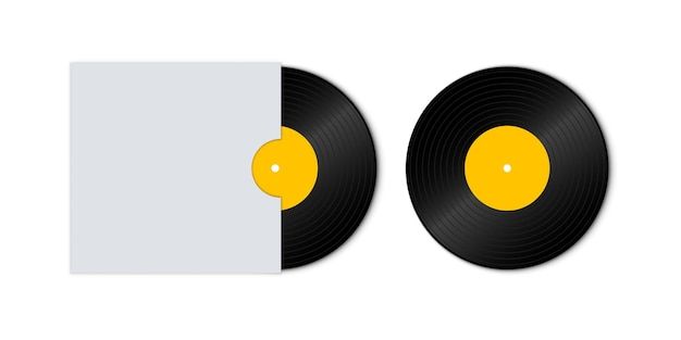 Vinyl record disc with yellow label. vinyl record with cover mockup. old technology, realistic retro design. front view. disco party.