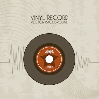 Vinyl record icon over vintage background