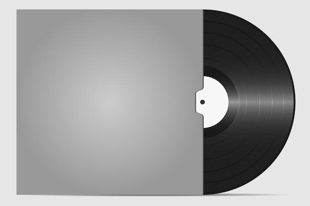 Виниловая пластинка в конверте к пластине. ретро звуковой носитель. тарелка для dj scratch. векторная иллюстрация.