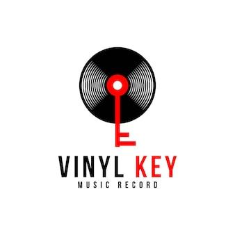 Vinyl record and key music logo design