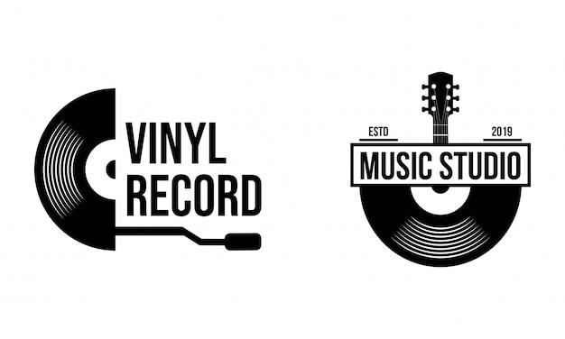 ビニールレコードのロゴのテンプレート。音楽アイコンまたはエンブレム。
